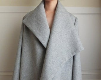 Asymmetrical lapel oversize coat (made with wool/cashmere blend)