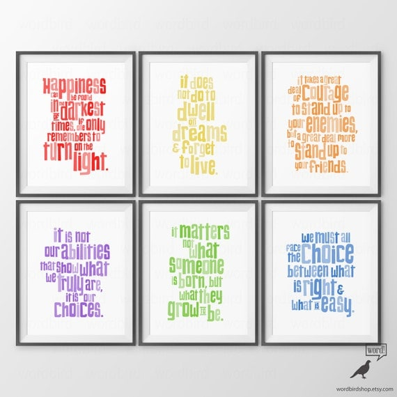 Baby Nursery Wall Decor Sayings : Harry potter nursery quotes print set baby boy decor