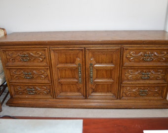 SOLD ~ Hand-Painted Triple Dresser by DREXEL Buffet Credenza Console Server
