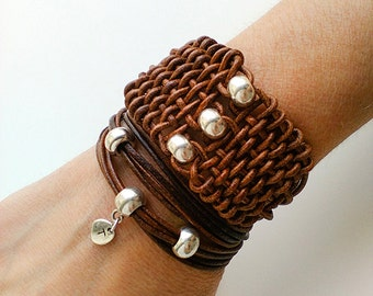 Leather cuff bracelet for women, brown woven braided leather bracelet, beaded leather jewelry, womens leather graduation gifts, her birthday