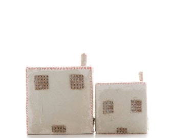 two sheds  small house, mixed media, sculpture, textile art, OOAK