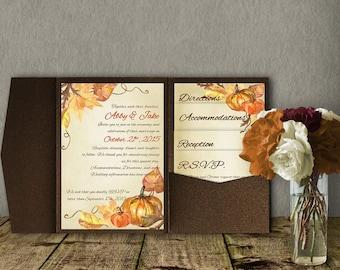 Fall Wedding Pocketfold Invitation Template, Invitation Suite, Wedding Invitation, Pocket Template, DIY Wedding Invitation, autumn wedding