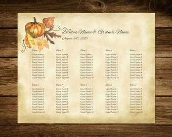 Pumpkin Printable Fall Wedding Seating Chart Template, Seating Plan, DIY Seating Chart, Wedidng Sign, 16x20 Seating Poster, Instant Download