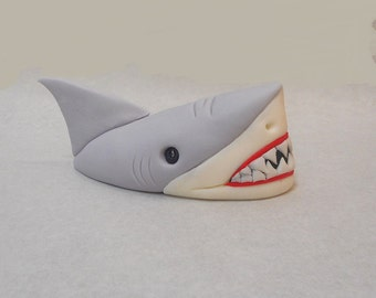 5 inch Shark Head Out of Water Fondant Cake Topper Ocean Fish Great White Birthday