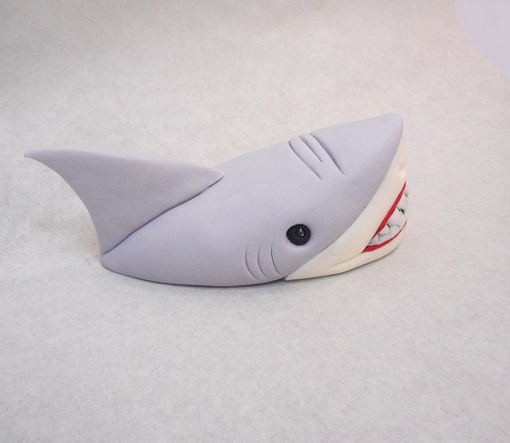 5 Inch Shark Head Out Of Water Fondant Cake Topper Ocean