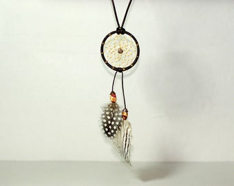 Long necklace dreamcatcher_black and white_natural feathers_adjustable short or long_boho_OOAK