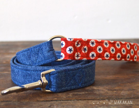 Leash for dog model Born in the USA. Handmade with 100% cotton fabric and webbing. Two width available. Wakakan
