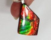 Rare Semi-Precious Ammonite/Ammolite Stone Pendent / Necklace - 21x34mm - Color change flash: Green, Yellow, Red, Blue