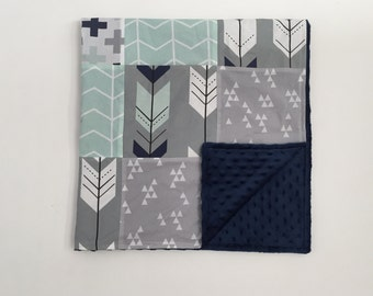 Minky Blanket - Navy, Grey, Mint Fletching Arrows and Triangles