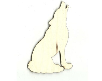 Wolf - Laser Cut Unfinished Wood Shapes Craft Supply ANML7