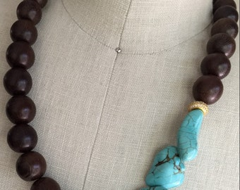 Beautiful Turquoise Magnesite and Natural Wood