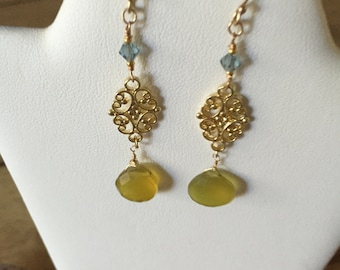 Pretty Chalcedony and Swarovsky Crystal Earrings