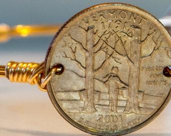 Vermont state quarter wire bangle bracelet.