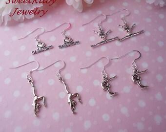 1 Pair Gymnastics Dangle Earrings - 925/10 Silver Filled Earring Wires - Girls/Kids/Ladies/Gymnast - Gymnastics Team, Gymnastics Performance