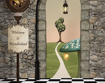 3x4 Scenic Photo Backdrop of Welcome To Wonderland - FabVinyl 3x4ft (FV5141)