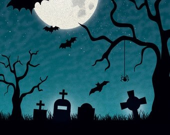 5x7 FabVinyl Haunted Graveyard Background - Fab Vinyl 5'x7' ft  (FV9088)