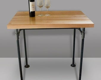 Butcher block table & cast iron pipe