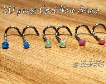 Opal Nose Rings 20 gauge (Screw style)