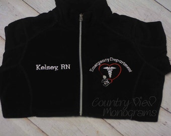 MENS Emergency Department BLOCK ER Nurse Fleece Jacket with Name on Right chest-zipup light weight fleece jacket with several colors