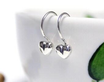 Silver Heart Earrings, Tiny Heart Earrings, Silver Earrings, Cute Silver Hook Earrings, Simple Hook Earrings, Handmade Silver Earrings.