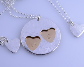 Mother and 2 daughters necklace set. Mother 2 daughters necklace.  Mother and two daughters gift.