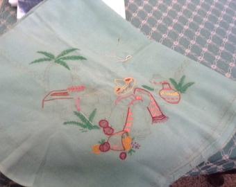 Unfinished Lunchleon Tablecloth Mexican Design 1930's