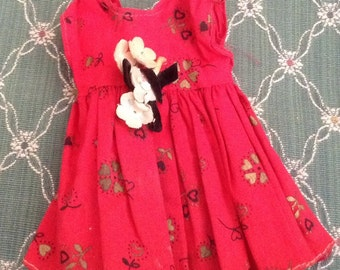 Vintage Christmas Red Doll Dress