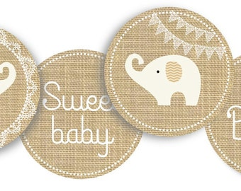 Elephant Baby Shower Tags for Gender Neutral Celebration-burlap, lace, little peanut labels, stickers, cupcake picks-INSTANT DOWNLOAD pdf