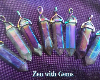 Aura Amethyst Pendant, Amethyst Aura Necklace, Pendulum, Sacred Adornment, Double Terminated, Metaphysical, Crystal Jewelry!