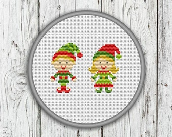 Christmas Elves Counted Cross Stitch Pattern, Happy Elves, Funny Santa's Elves Needlepoint Pattern - PDF, Instant Download