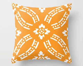 Orange and White Pillow Cover - Modern Home Decor - Accent Pillow - Decorative Pillow - includes insert