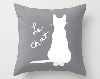 Cat Pillow  - Gary and White Cat Throw Pillow - Cat Novelty Pillow - Cat Decor - Cat Decorative Pillow - Aldari Home