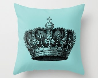 Royal Crown Pillow Cover - Vintage Crown Throw Pillow - Crown Novelty Pillow - Crown Decor - Blue and Black Pillow - Aldari Home