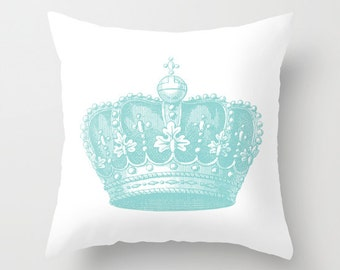 Royal Crown Pillow Cover - Vintage Crown Throw Pillow - Crown Novelty Pillow - Crown Decor - Blue and White Pillow - Aldari Home