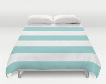 Blue Stripes Duvet Cover - Modern Striped Duvet Cover - Blue and White Bedding - Queen Size King Size Duvet Cover