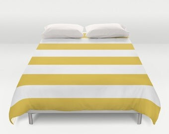 Yellow Stripes Duvet Cover - Modern Striped Duvet Cover - Yellow and White Bedding - Queen Size King Size Duvet Cover