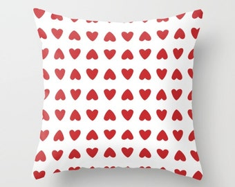 Hearts Pillow Cover - Red Hearts Pillow Cover - Valenitnes Day Decorative Pillow Cover - Home Decor - By Aldari Home