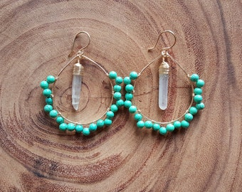 Gold Hoops detailed with Natural Turquoise and a Wire-Wrapped Crystal