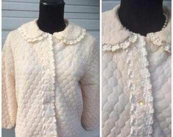 Vintage 1950's Dusty Pink Quilted Bed Jacket Medium Lucy
