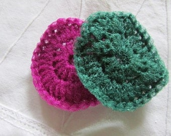 Handy, crocheted nylon netting scrubbies - Pot scrubbers - Foot scrubbers - Sold in sets of 2
