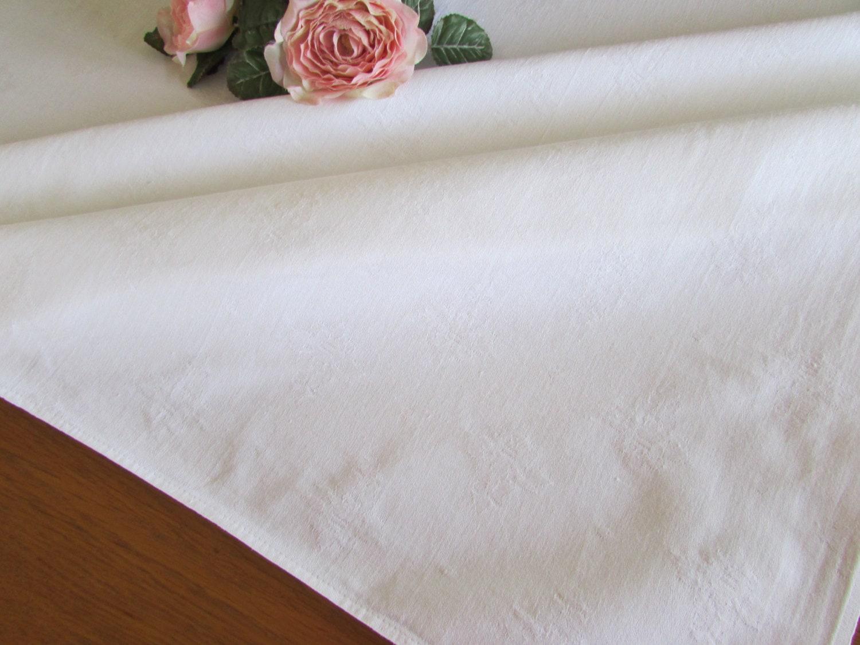 White cotton damask tablecloth fleur de lis large white for White cotton table cloth