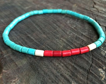Beaded turquoise bracelet for men Mens jewelry Stretch bracelets Minimalistic jewelry, Surfer bracelet
