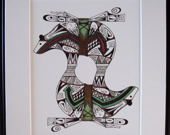Hopi design art, pen and ink, Native Hopi artist