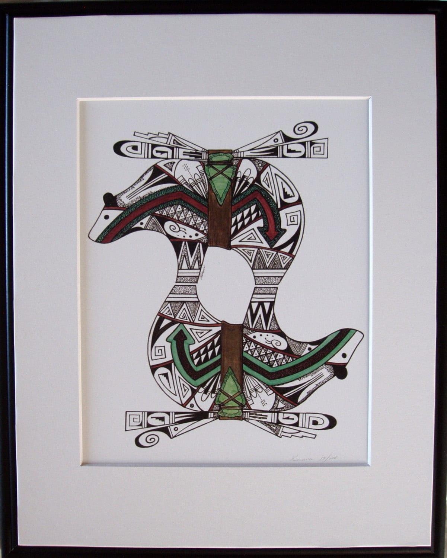 Hopi design art pen and ink Native Hopi artist  Hopi Drawings
