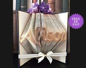 Personalised book / name book, customised book lover gift, folded book art, original bespoke gift, personalised gift  for bookworm