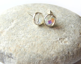 Clear Glass Crystal Wire Wrapped Stud Earrings | Stud Earrings | Teachers Gift | Bridesmaid