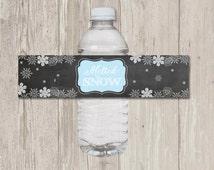 Melted Snow Water Bottle Label, Faux Chalkboard Water Bottle Label | Printable, Digital File