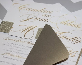 Gold Glitter Wedding Invitation | Classic romantic Wedding Invitation