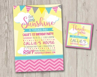 Little Sunshine Party Invitations  | Our Little Sunshine Birthday | Digital File