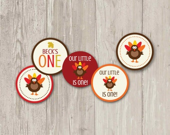 Turkey Cupcake Toppers, Our Little Turkey Party Circle, Cupcake Toppers, Stickers | Printable